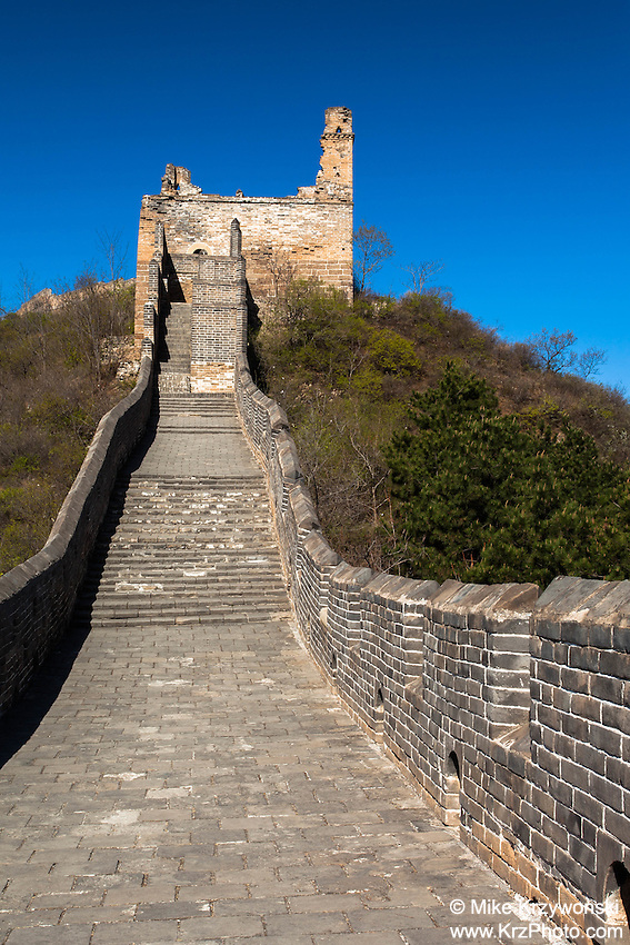 Steps leading to the ruins of a tower on the Great Wall of China, Jinshanling Section, Beijing