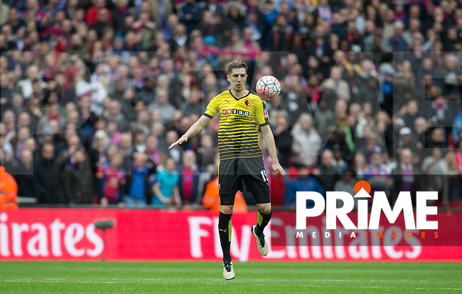 Craig Cathcart of Watford controls the ball during the FA Cup Semi Final match between Crystal Palace and Watford at Wembley Stadium, London, England on 24 April 2016. Photo by Andy Rowland.