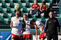 Rochester, NY - Friday June 17, 2016: Portland Thorns FC forward Nadia Nadim (9) prior to a regular season National Women's Soccer League (NWSL) match between the Western New York Flash and the Portland Thorns FC at Rochester Rhinos Stadium.