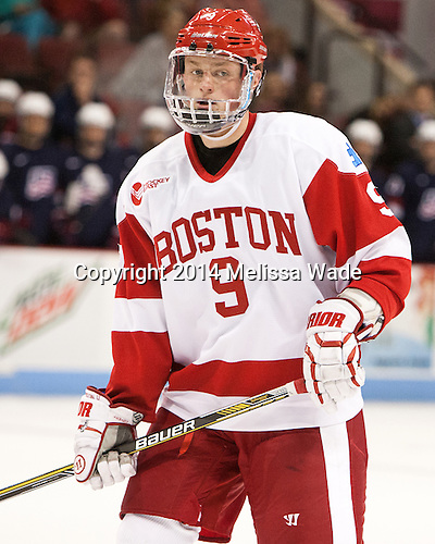 Jack Eichel (BU - 9) - The Boston University Terriers defeated the visiting USA National Team Development Program's Under 18 team 6-4 (EN) on Saturday, October 18, 2014, at Agganis Arena in Boston, Massachusetts.
