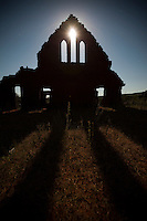 Church ruins at full moon.