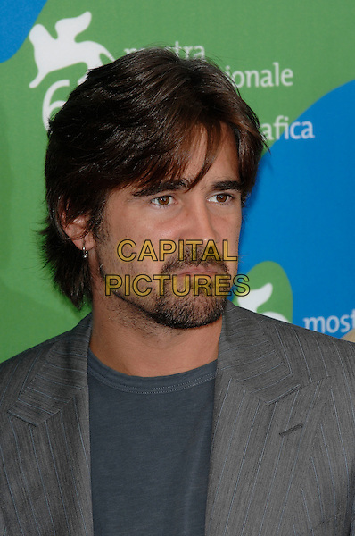 "COLIN FARRELL.Photocall for ""Cassandra's Dream"" at the 64th Venice Film Festival (La Biennale di Venezia), Venice, Italy..September 2nd, 2007,.headshot portrait stubble facial hair earrings frowning funny face .CAP/PL.©Phil Loftus/Capital Pictures"