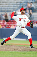 July 21st 2008:  Carlos Pimentel of the Spokane Indians, Short Season Class-A affiliate of the Texas Rangers, during a game at Home of the Avista Stadium in Spokane, WA.  Photo by:  Matthew Sauk/Four Seam Images