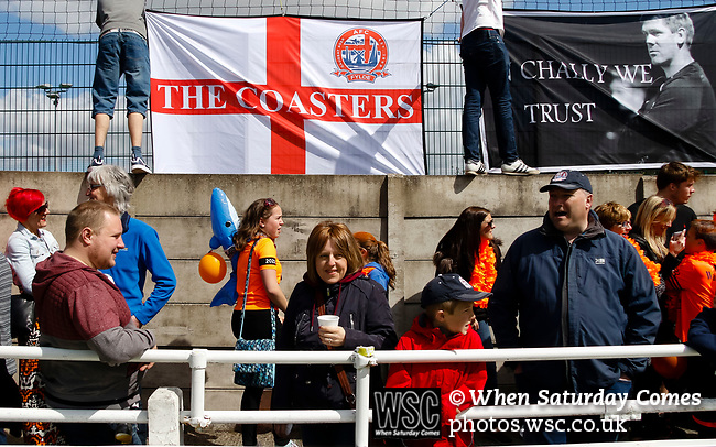 FC Fylde fans putting up flags and banners before kick off. Vanarama National League North, Promotion Final, North Ferriby United v FC Fylde, 14th May 2016.
