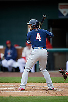 New Hampshire Fisher Cats shortstop Gunnar Heidt (4) at bat during the second game of a doubleheader against the Harrisburg Senators on May 13, 2018 at FNB Field in Harrisburg, Pennsylvania.  Harrisburg defeated New Hampshire 2-1.  (Mike Janes/Four Seam Images)