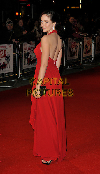 Anna Skellern.attends the UK Premiere of 'I Give It A Year', Vue West End cinema, London, England, UK, 24th January 2013..full length long maxi dress black clutch bag red back rear behind over shoulder  halterneck .CAP/WIZ.© Wizard/Capital Pictures.