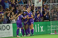 Orlando, FL - Saturday August 12, 2017: Orlando Pride celebrates a goal during a regular season National Women's Soccer League (NWSL) match between the Orlando Pride and Sky Blue FC at Orlando City Stadium.