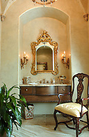 A beautiful powder room vanity niche