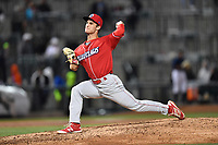 Starting pitcher Nick Fanti (20) of the Lakewood BlueClaws delivers a pitch during his combined for a no-hitter against the Columbia Fireflies on Saturday, May 6, 2017, at Spirit Communications Park in Columbia, South Carolina. Fanti pitched a scoreless 8 and two-thirds, with Trevor Bettencourt picking up the final out for a 1-0 win. (Tom Priddy/Four Seam Images)