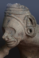 Effigy vase in male anthropomorphic style, seated figure on a duho or ceremonial seat with hands on knees and pierced earlobes, Chicoide style, Taino culture, Precolumbian era, in the Museo del Hombre Dominicano, founded in 1973 and designed by Jose Antonio Caro Alvarez, on the Plaza de la Cultura in the Colonial Zone, in Santo Domingo, capital of the Dominican Republic, in the Caribbean. The museum houses collections on the culture of the Precolumbian Taino people. Santo Domingo's Colonial Zone is listed as a UNESCO World Heritage Site. Picture by Manuel Cohen