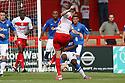 Greg Tansey of Stevenage shoots at goal. Stevenage v Peterborough - PSF - Lamex Stadium, Stevenage . - 4th August, 2012. © Kevin Coleman 2012