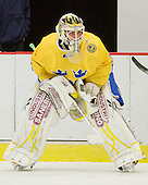 Johan Gustafsson (Sweden - 30) - Sweden's Under-20 team defeated the Harvard University Crimson 2-1 on Monday, November 1, 2010, at Bright Hockey Center in Cambridge, Massachusetts.