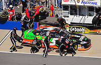 Apr 25, 2009; Talladega, AL, USA; NASCAR Nationwide Series driver Dale Earnhardt Jr pits during the Aarons 312 at the Talladega Superspeedway. Mandatory Credit: Mark J. Rebilas-