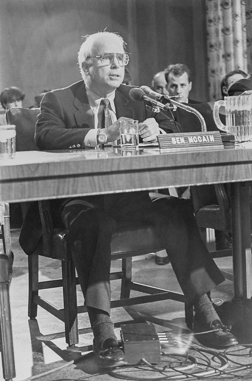 Sen. John McCain, R-Ariz. at Senate Government Affairs hearing on March 8, 1993. (Photo by Maureen Keating/CQ Roll Call via Getty Images)