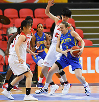 20200206 – OOSTENDE ,  BELGIUM : Swedish Frida Eldebrink (6) pictured in a duel with Japanese Himawari Akaho (88) during a basketball game between the national teams of Japan and Sweden on the first matchday of the FIBA Women's Qualifying Tournament 2020 , on Thursday 6  th February 2020 at the Versluys Dome in Oostende  , Belgium  .  PHOTO SPORTPIX.BE | DAVID CATRY