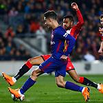 League Santander 2017/2018. Game: 25.<br /> FC Barcelona vs Girona FC: 6-1.<br /> Jonas Ramalho vs Coutinho.