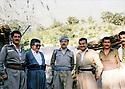 Iraq 1984 <br /> In the headquarter of PDKI, in the middle Abdul Rahman Ghassemlou, left, Fuad Massoum, right, Mullazem Omar and Hassan Rastegar  <br /> Irak 1984 <br /> Au quartier general du PDKI, Au milieu, abdoul Rahman Ghassemlou , a gauche Fuad Massoum , a droite, Mullazem Omar et Hasan Rastegar