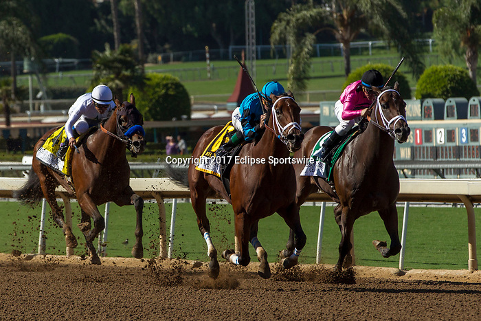 """ARCADIA, CA. OCTOBER 7:  #4 American Anthem, ridden by Mike Smith, trails #5 Mr. Hinx, ridden by Drayden Van Dyke, and #6 Roy H, ridden by Kent Desormeaux, in the stretch of the Santa Anita Sprint Championship (Grade l)""""Win and You're In Sprint Division"""" on October 7, 2017, at Santa Anita Park in Arcadia, CA.(Photo by Casey Phillips/Eclipse Sportswire/Getty Images)"""