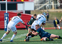 WASHINGTON, DC - FEBRUARY 16: George Barton #12 of the Seattle Seawolves brings down Tevita Nadali #4 of Old Glory DC during a game between Seattle Seawolves and Old Glory DC at Cardinal Stadium on February 16, 2020 in Washington, DC.