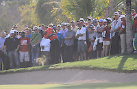 Tiger Woods (USA) in action on the 18th hole during Sunday's Final Round of the HSBC Golf Championship at the Abu Dhabi Golf Club, United Arab Emirates, 29th January 2012 (Photo Eoin Clarke/www.golffile.ie)