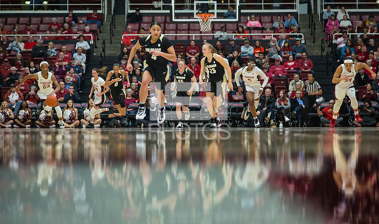 Stanford, CA - January 24, 2020: Kiana Williams, Lacie Hull, Francesca Belibi, Jenna Brown at Maples Pavilion. The Stanford Cardinal defeated the Colorado Buffaloes in overtime, 76-68.