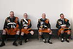 August 07, 2009: Members of the Irish Military Band take a rest. Meydan FEI Nations Cup. Failte Ireland Horse Show. The RDS, Dublin, Ireland.