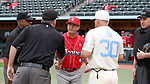 CHAPEL HILL, NC - FEBRUARY 21: Saint John's head coach Ed Blankmeyer greets Third Base Umpire Greg Street and UNC head coach Mike Fox. The University of North Carolina Tar heels hosted the Saint John's University Red Storm on February 21, 2018, at Boshamer Stadium in Chapel Hill, NC in a Division I College Baseball game. St John's won the game 5-2.