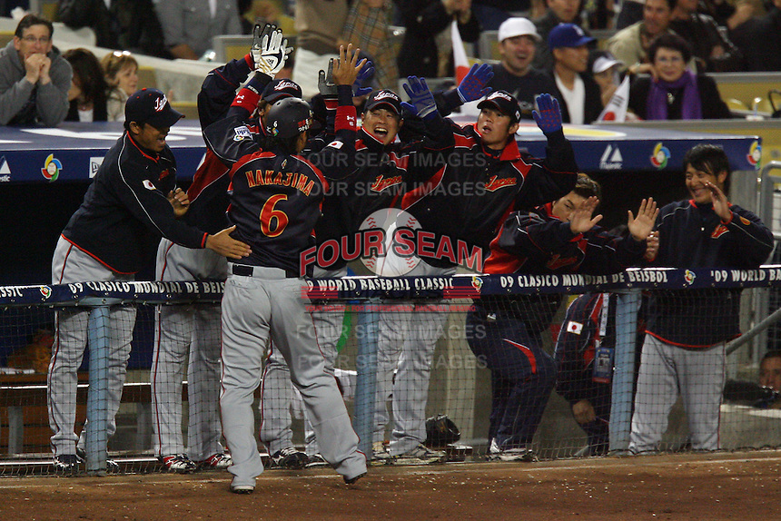 Hiroyuki Nakajima of Japan during a game against Korea at the World Baseball Classic at Dodger Stadium on March 23, 2009 in Los Angeles, California. (Larry Goren/Four Seam Images)