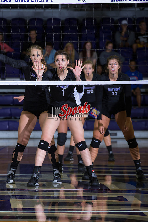 Jordan Hefner (1), Abby Broadstreet (3), Carly Jimenez (11) and Haley Barnes (20) during the match against the Marshall Thundering Herd at the Panther Invitational at the Millis Athletic Center on September 12, 2015 in High Point, North Carolina.  The Thundering Herd defeated the Panthers 3-2.   (Brian Westerholt/Sports On Film)