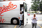 Rapper Wale heads from his tour bus to Magic City, an Atlanta strip club, October 12, 2011.