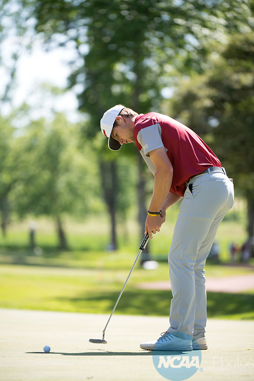 SUGAR GROVE, IL - MAY 31: Rylee Reinertson of the University of Oklahoma putts during the Division I Men's Golf Team Championship held at Rich Harvest Farms on May 31, 2017 in Sugar Grove, Illinois. Oklahoma won the team national title. (Photo by Jamie Schwaberow/NCAA Photos via Getty Images)