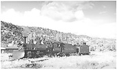 RGS #462 with plow and caboose #0401 approaching the wye.<br /> RGS  Dolores, CO  Taken by Richardson, Robert W. - 10/10/1945