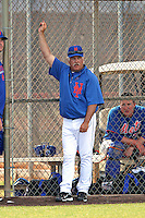 New York Mets Wally Backman during a minor league spring training intrasquad game at the Port St. Lucie Training Complex on March 27, 2012 in Port St. Lucie, Florida.  (Mike Janes/Four Seam Images)