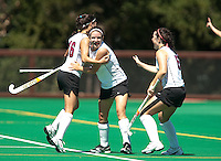 STANFORD, CA - SEPTEMBER 6: Katherine Swank, Hope Burke, and Elise Ogle celebrate their first goal during competition against Michigan State on September 6, 2010 in Stanford, California.