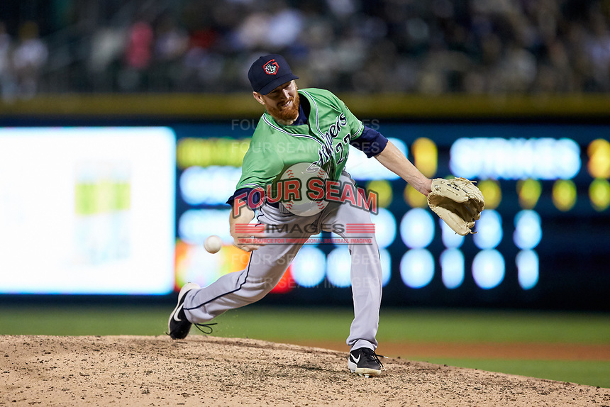 Gwinnett Braves relief pitcher Ben Rowen (22) delivers a pitch to the plate against the Charlotte Knights at BB&T BallPark on July 12, 2019 in Charlotte, North Carolina. The Stripers defeated the Knights 9-3. (Brian Westerholt/Four Seam Images)