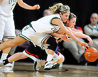Lynden's Brandi Benner (3) and Ellensburg's Kim Kelly (15) both fall to the court as they chase a loose ball during the second round of the 2A State Basketball Championships at the Yakima SunDome on Thursday, March 12, 2009. Lynden won, 42-32, and will advance to play Spokane West Valley on Friday.