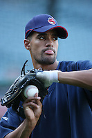 Franklin Gutierrez of the Cleveland Indians during batting practice before a game from the 2007 season at Angel Stadium in Anaheim, California. (Larry Goren/Four Seam Images)