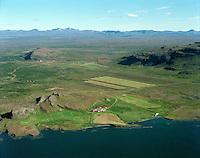 Drangar séð til suðausturs, Dalabyggð áður Skógarstrandarhreppur /.Drangar farm viewing southeast, Dalabyggd former Skogarstrandarhreppur county.