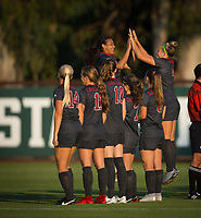 STANFORD, CA - August 10, 2018: Jaye Boissiere, Belle Briede, Carly Malatskey, Tierna Davidson, Jordan DiBiasi, Civana Kuhlmann, Alana Cook at Laird Q. Cagan Stadium. The Stanford Cardinal defeated the Fresno State Bulldogs 4-0.