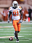Oklahoma State Cowboys wide receiver Justin Blackmon (81) in action during the game between the Oklahoma State Cowboys and the University of Texas in Austin Texas Longhorns at the Daryl K. Royal- Texas Memorial Stadium in Austin, Texas. The Oklahoma State Cowboys defeated the Texas Longhorns 33 to 16.
