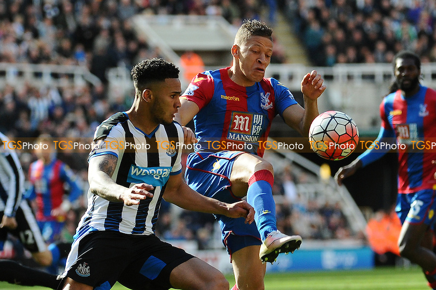 Jamaal Lascelles of Newcastle United battles with Dwight Gayle of Crystal Palace during Newcastle United vs Crystal Palace, Barclays Premier League Football at St. James' Park on 30th April 2016