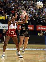 25.10.2012 Silver Ferns Katrina Grant and England's Pamela Cookey in action during the Silver Ferns v England netball test match as part of the Quad Series played at the TSB Arena Wellington. Mandatory Photo Credit ©Michael Bradley.