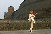 A man practices Tai Chi in Pingyao Ancient City in Shanxi, China. Being one of the four wholly-protected ancient cities in China, Pingyao Ancient City is thought of as the 'treasure house' of ancient Chinese architectures..05 Jun 2007.