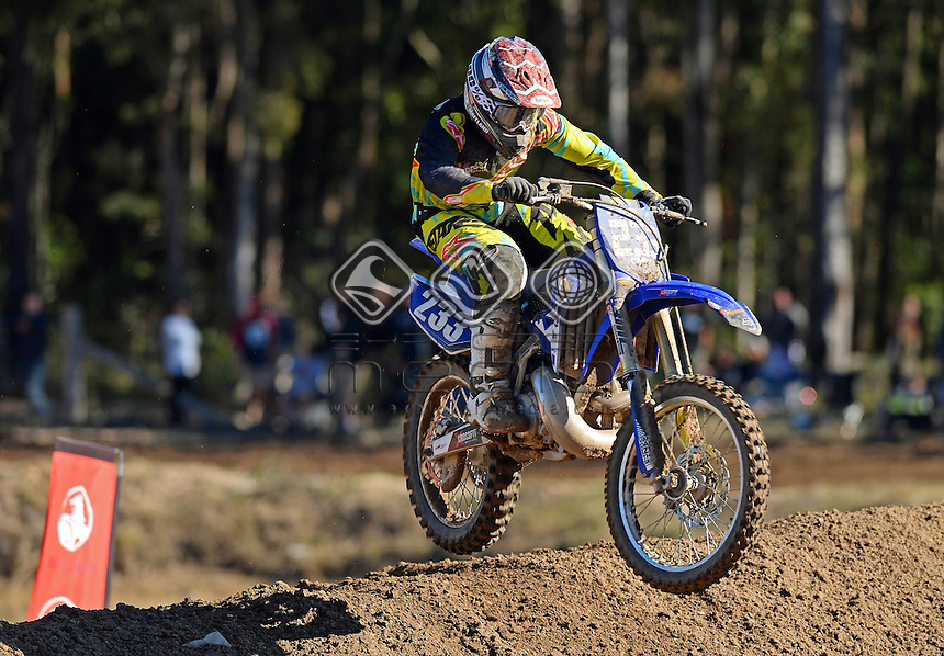 Blake Parker / Yamaha<br /> MX Nationals / Round 6 / MXD<br /> Australian Motocross Championships<br /> Raymond Terrace NSW<br /> Sunday 5 July 2015<br /> &copy; Sport the library / Jeff Crow