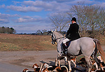 A795J4 Fox hunting with master of the hunt on horse blowing hunting horn and hounds around Butley Suffolk England