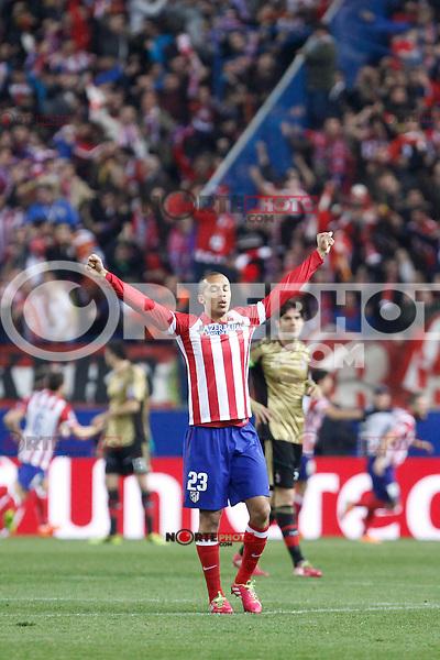 Atletico de Madrid´s Miranda celebrates a Diego Costa goal during 16th Champions League soccer match at Vicente Calderon stadium in Madrid, Spain. January 06, 2014. (ALTERPHOTOS/Victor Blanco)