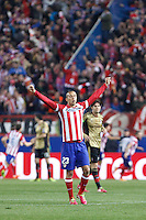 Atletico de Madrid´s Miranda celebrates a Diego Costa goal during 16th Champions League soccer match at Vicente Calderon stadium in Madrid, Spain. January 06, 2014. (ALTERPHOTOS/Victor Blanco)