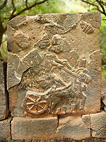 Pictures & images of the North Gate Hittite sculpture stele depicting a Hittite chariot. 8th century BC. Karatepe Aslantas Open-Air Museum (Karatepe-Aslantaş Açık Hava Müzesi), Osmaniye Province, Turkey.