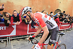 Tim Wellens (BEL) Lotto Soudal climbs Via Santa Caterina in Siena in the last km of Strade Bianche 2019 running 184km from Siena to Siena, held over the white gravel roads of Tuscany, Italy. 9th March 2019.<br /> Picture: Eoin Clarke | Cyclefile<br /> <br /> <br /> All photos usage must carry mandatory copyright credit (© Cyclefile | Eoin Clarke)
