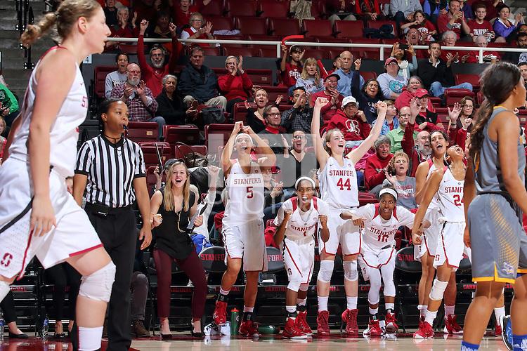 STANFORD, CA - December 22, 2015: Stanford defeats CSU Bakersfield 83-41 at Maples Pavilion. Team celebrates after Tess Picknell's basket.